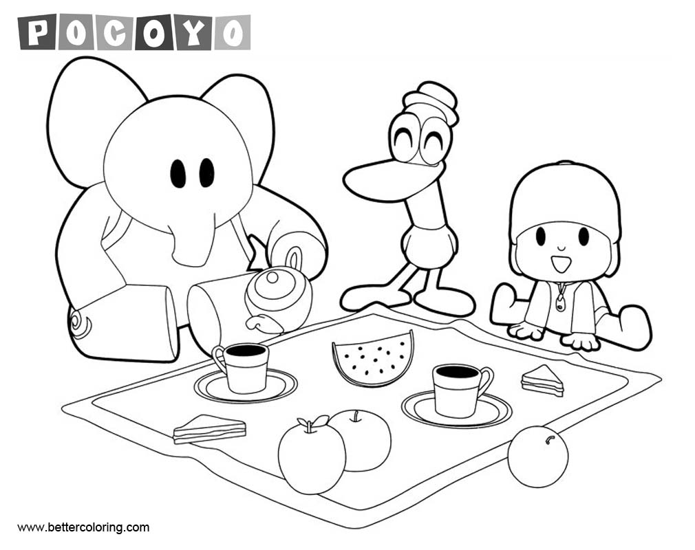 Pocoyo Characters Coloring Pages