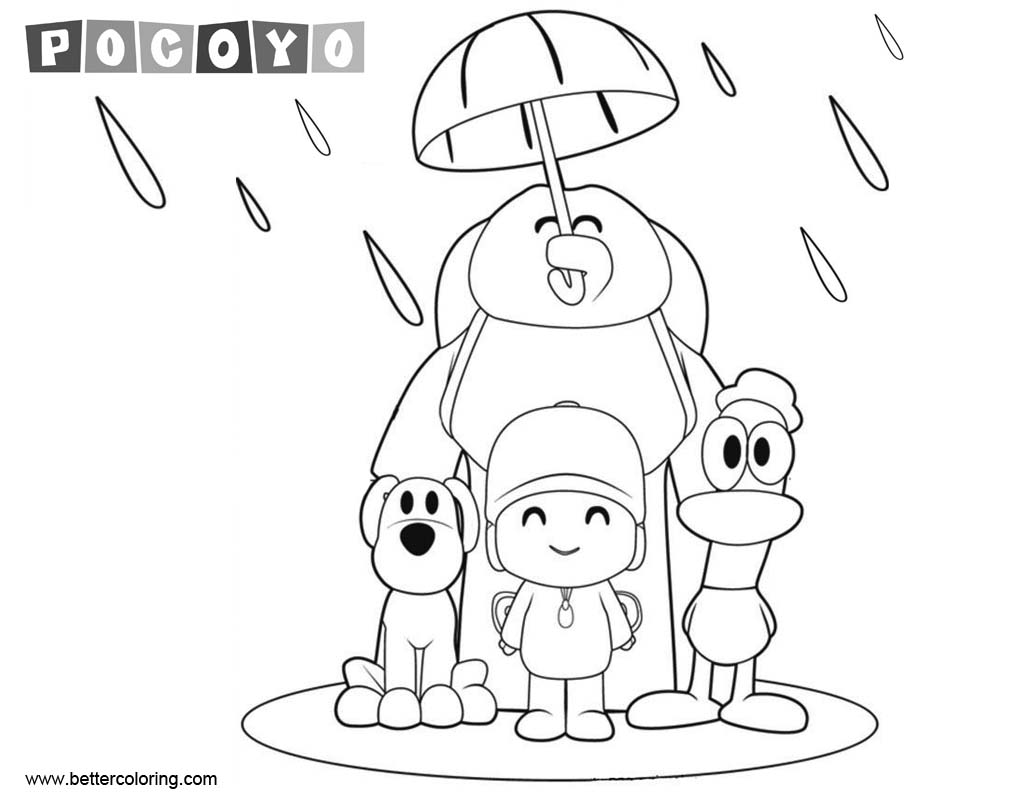 Free Pocoyo Coloring Pages Characters Under Umbrella printable