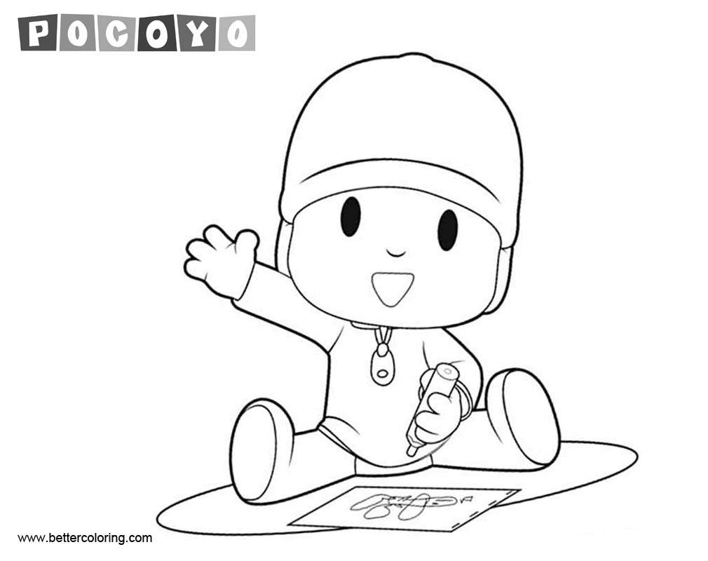 Pocoyo Coloring Pages Drawing On Paper Free Printable Coloring Pages