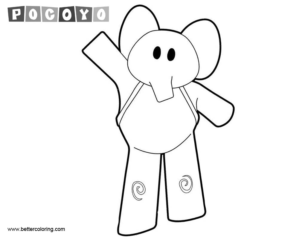 Pocoyo Coloring Pages Elephant - Free Printable Coloring Pages
