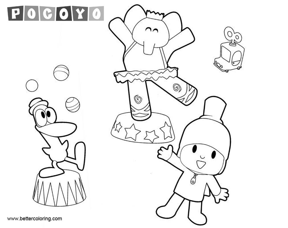 Pocoyo Coloring Pages Elly Pato and Pocoyo Dancing - Free ...
