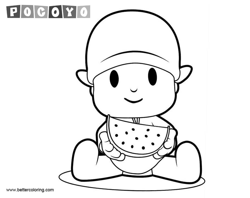 Free Pocoyo Coloring Pages Line Art printable