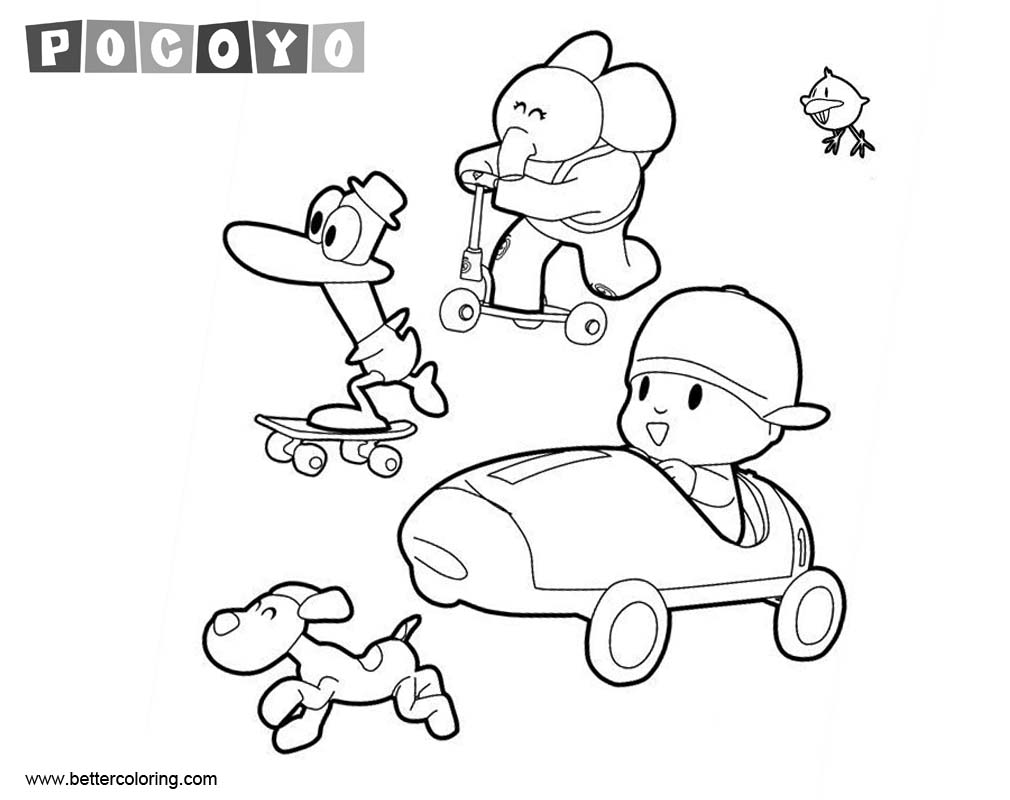 Pocoyo Coloring Pages Racing - Free Printable Coloring Pages