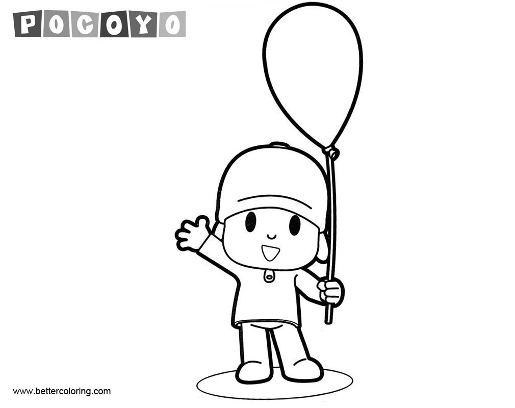 Free Pocoyo Coloring Pages with Balloon printable