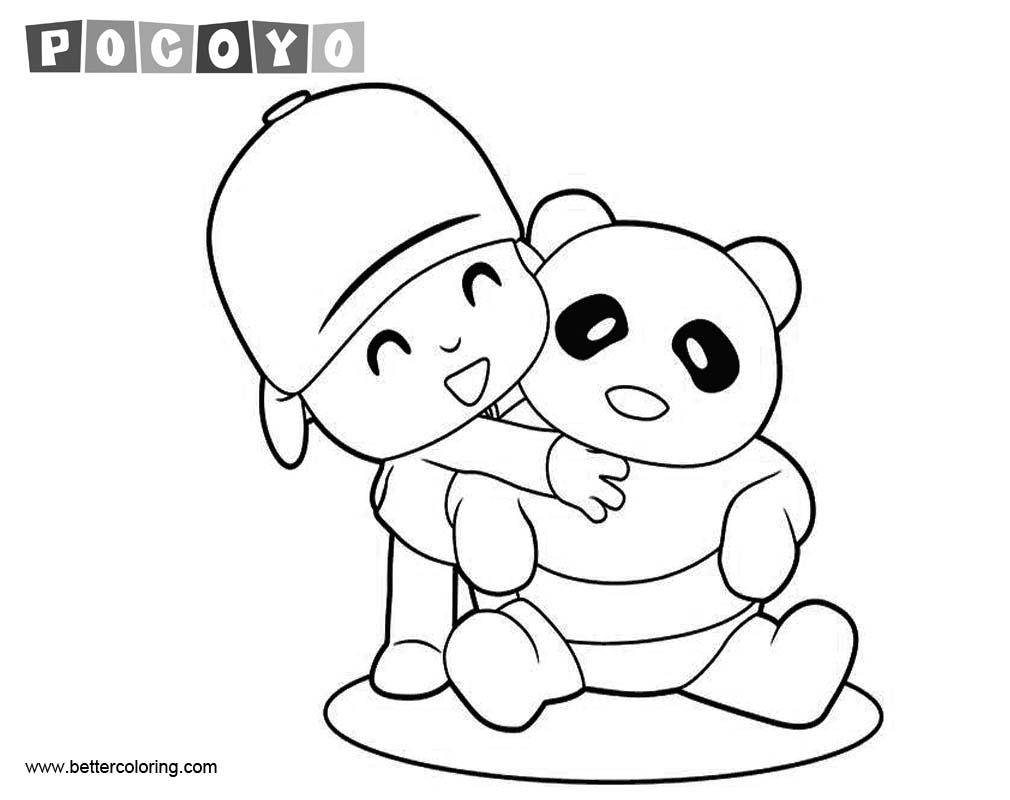 Free Pocoyo Coloring Pages with Panda printable