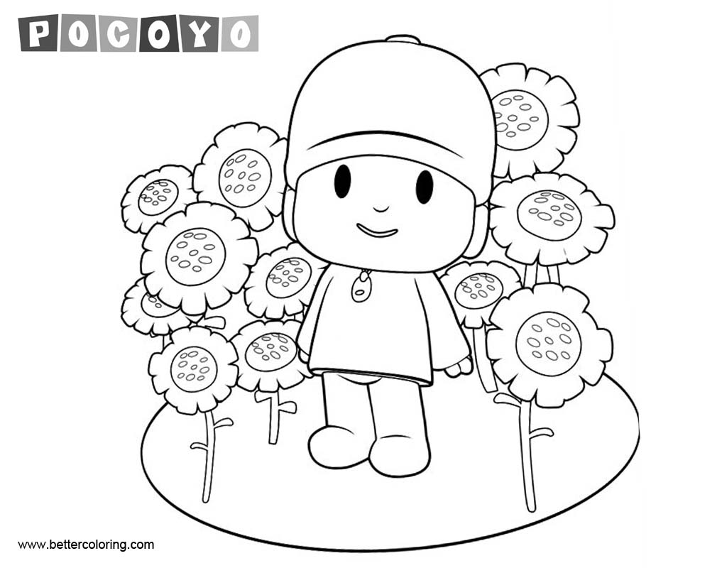Pocoyo Coloring Pages with Sunflowers - Free Printable Coloring Pages