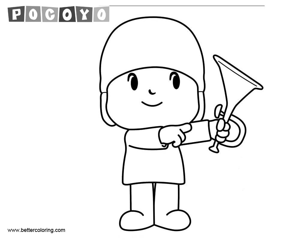 free pocoyo coloring pages with trumpet printable for kids and adults