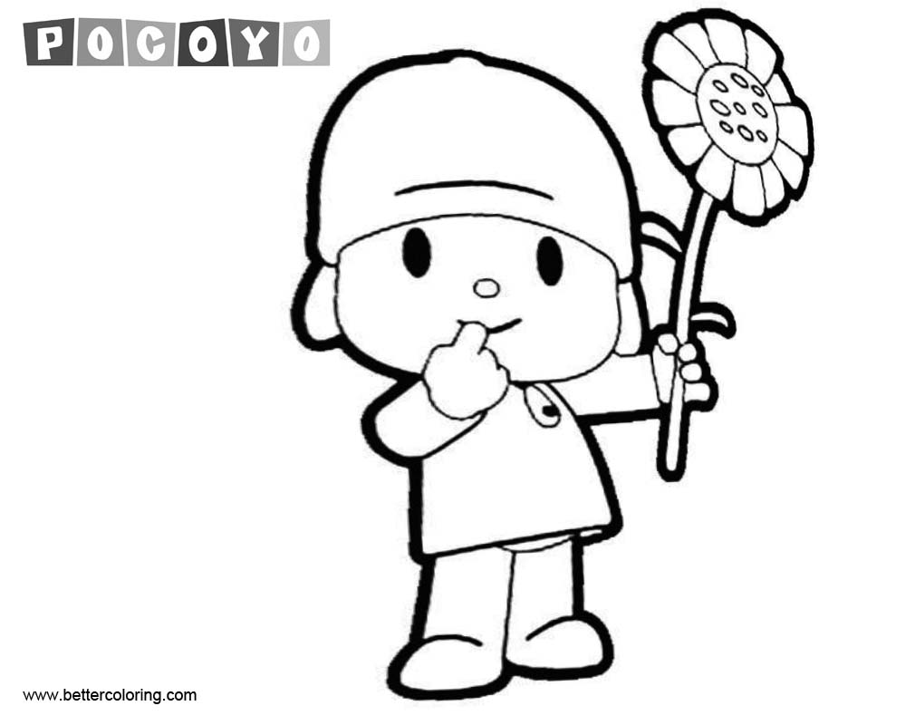 Free Pocoyo Coloring Pages wtih Flower printable