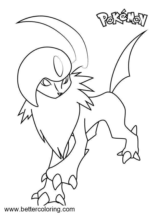 Free Pokemon Coloring Pages Absol printable