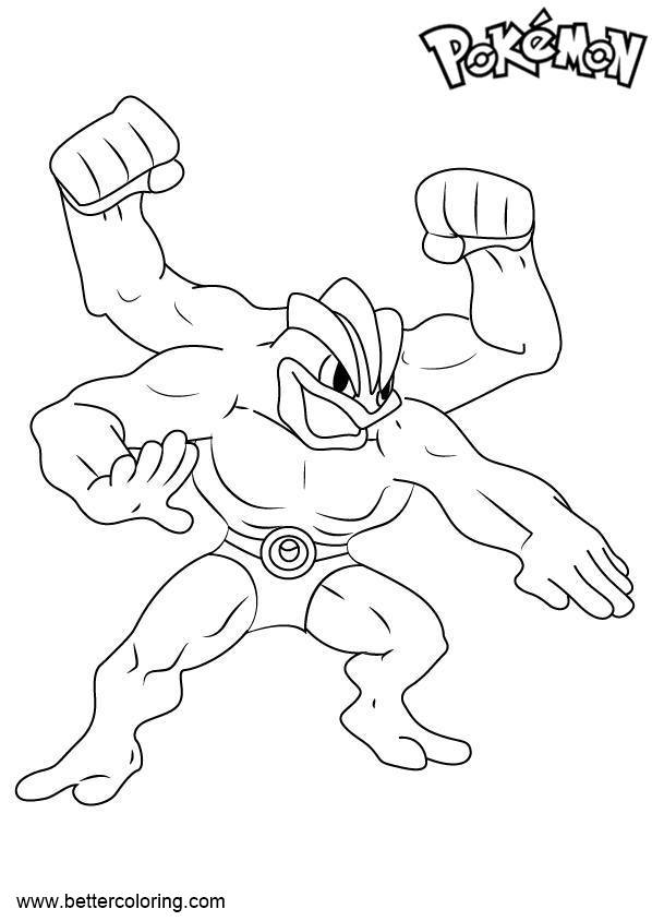 Free Pokemon Coloring Pages Machamp printable