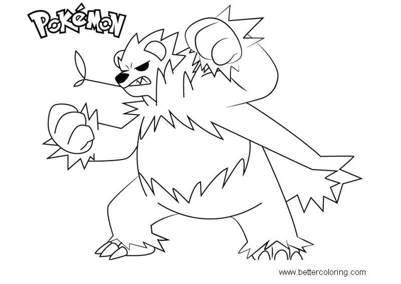 Free Pokemon Coloring Pages Pangoro printable