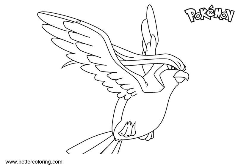 Free Pokemon Coloring Pages Pidgeot printable