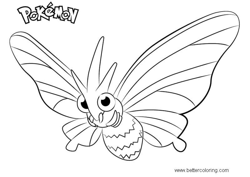 Free Pokemon Coloring Pages Venomoth printable