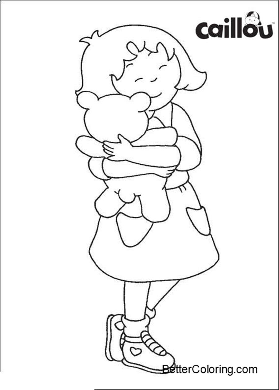 Free Printable Caillou Coloring Pages with Kitty printable