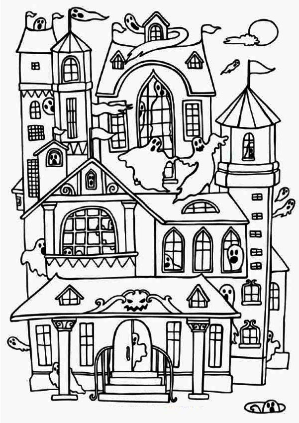 Printable Halloween Haunted House Coloring Pages - Free ...