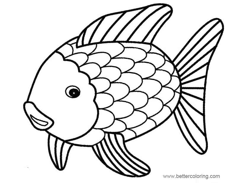 rainbow fish free coloring pages | Rainbow Fish Coloring Pages Easy Drawing - Free Printable ...