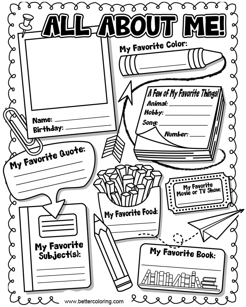 It is a graphic of Wild All About Me Page Printable