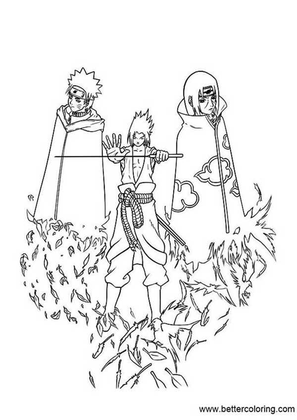 Free Sasuke Itachi and Naruto Coloring Pages printable