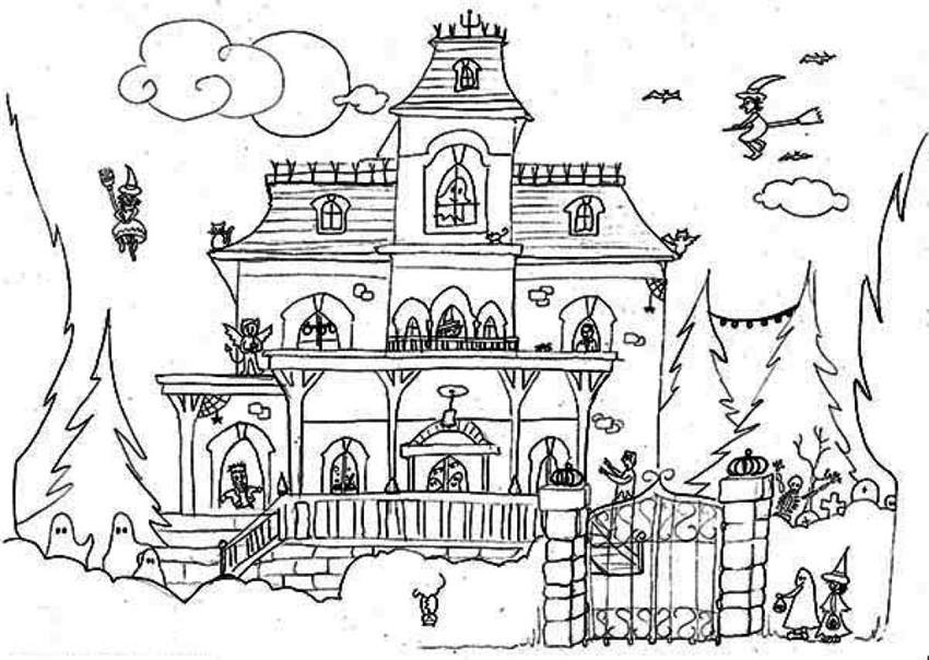 Scary Haunted House Coloring Pages Free Printable Coloring Pages