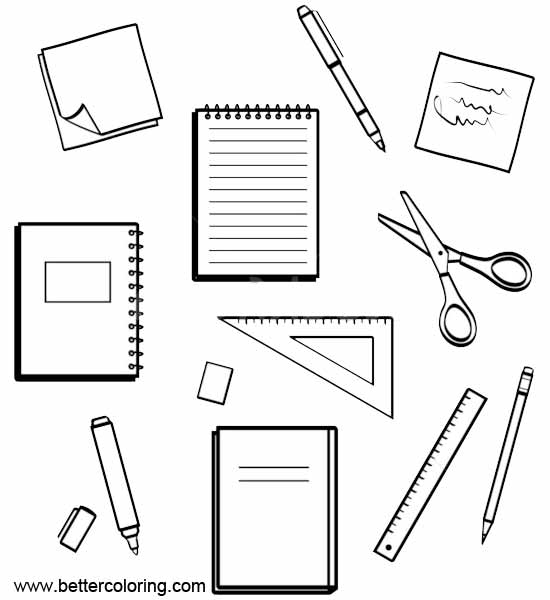 free art supply coloring pages | School Supplies Coloring Pages Clip Art - Free Printable ...