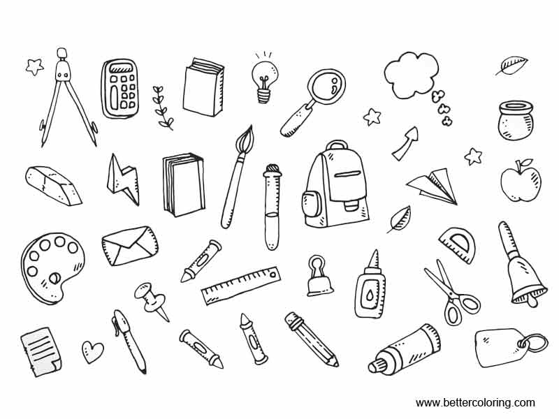 Free School Supplies Coloring Pages Icons printable