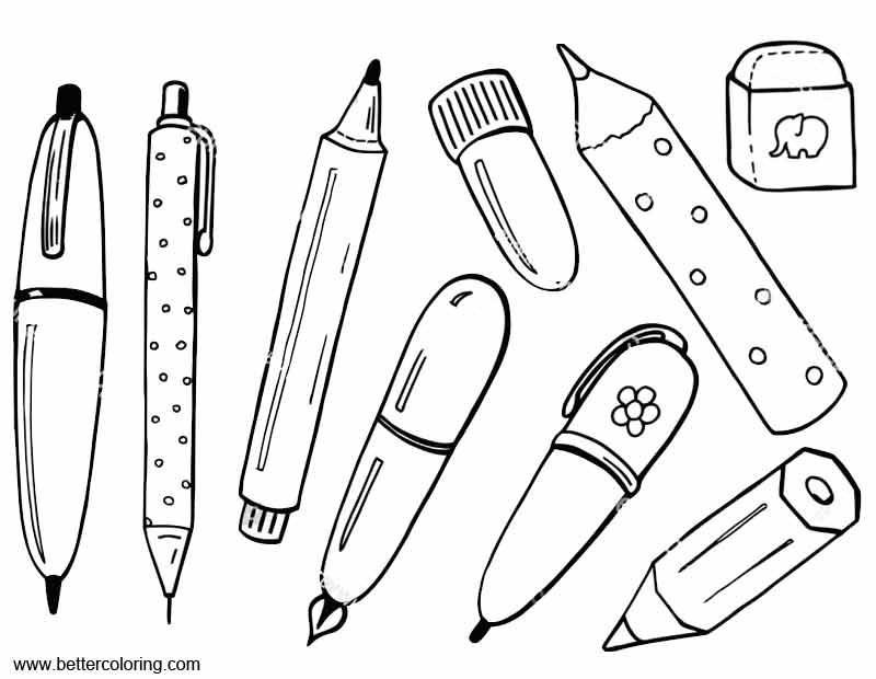 Free School Supplies Coloring Pages with Eraser printable
