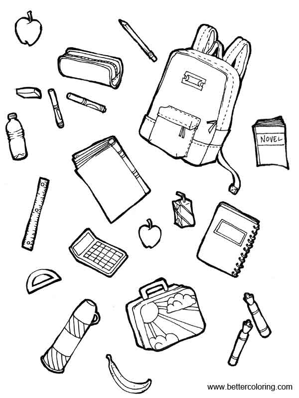 school supplies coloring pages printables - photo#43