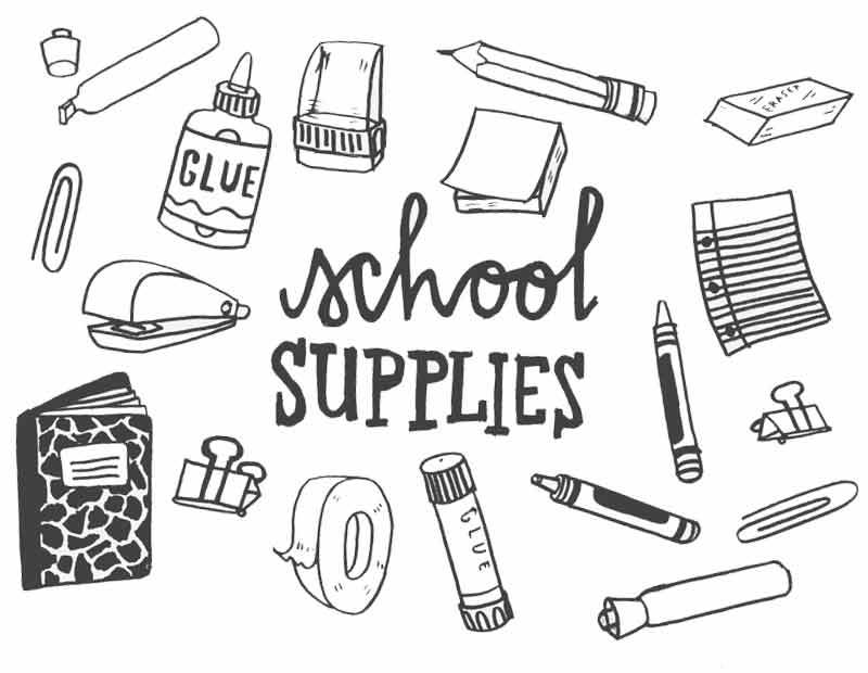 Free School Supplies List Coloring Pages printable