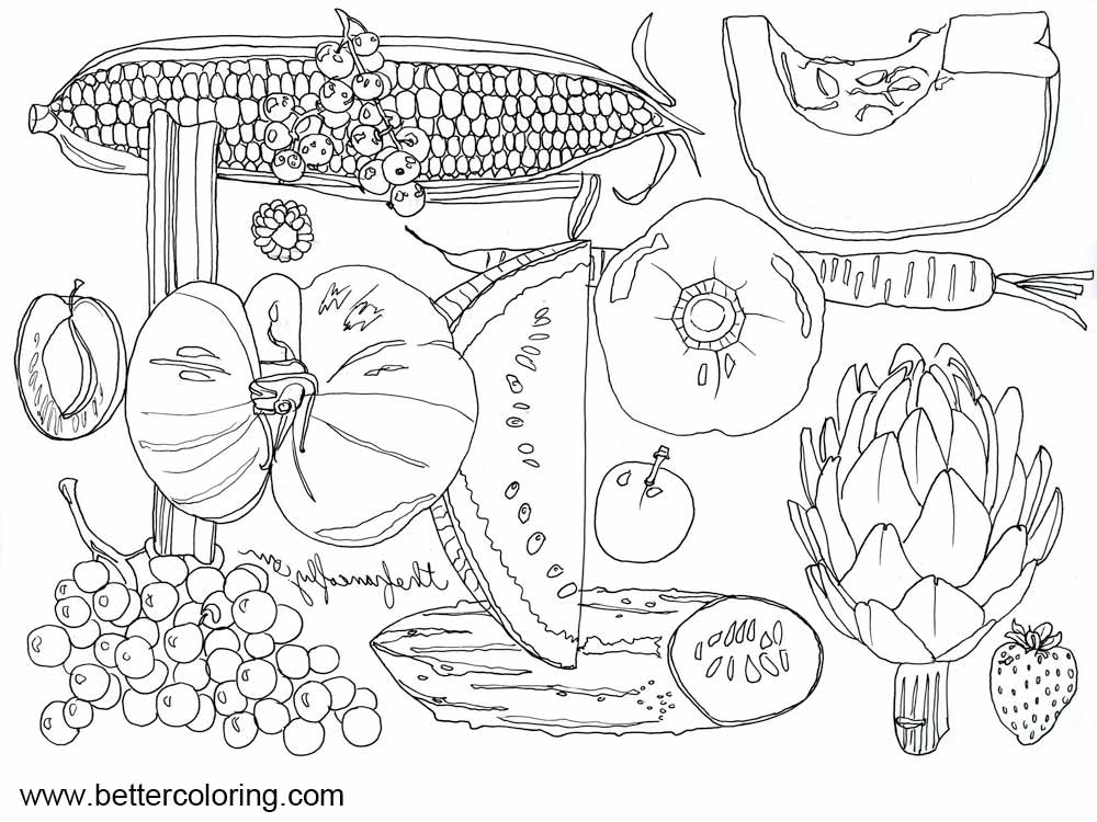 Seasonal September Coloring Pages Vegetables And Fruits Free