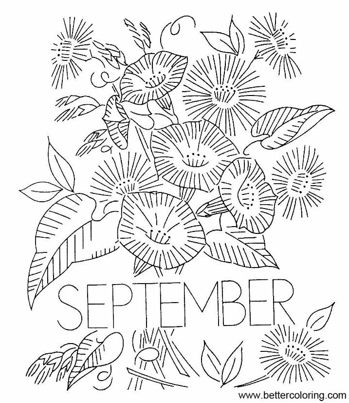 Free September Coloring Pages Black and White printable