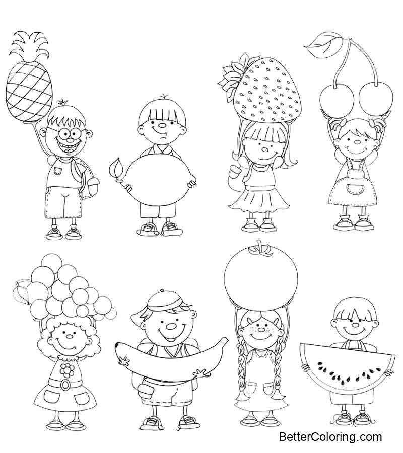 September Coloring Pages Kids and Seasonal Vegetables and Fruits ...