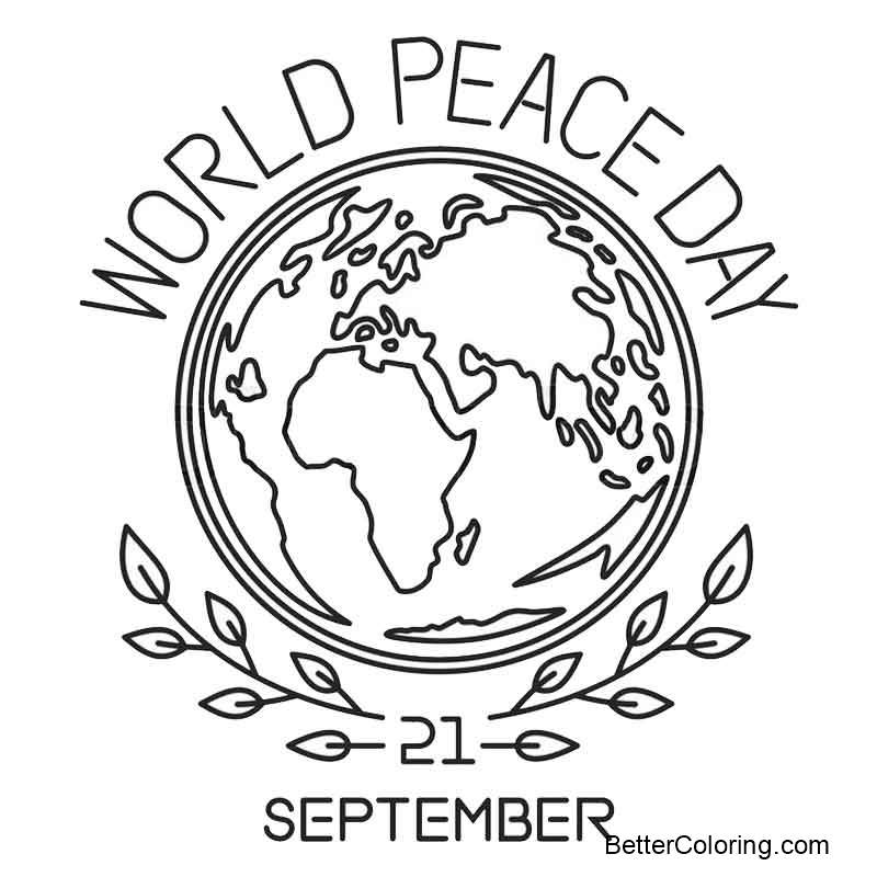 September Coloring Pages World Peace Day Free Printable