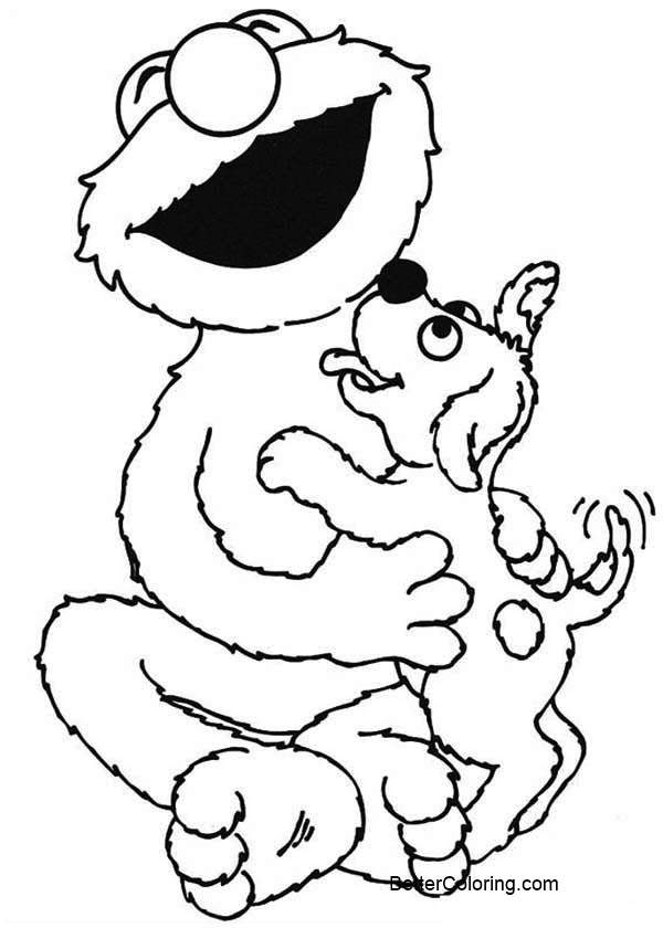 Sesame Street Elmo Coloring Pages Play With A Dog Free