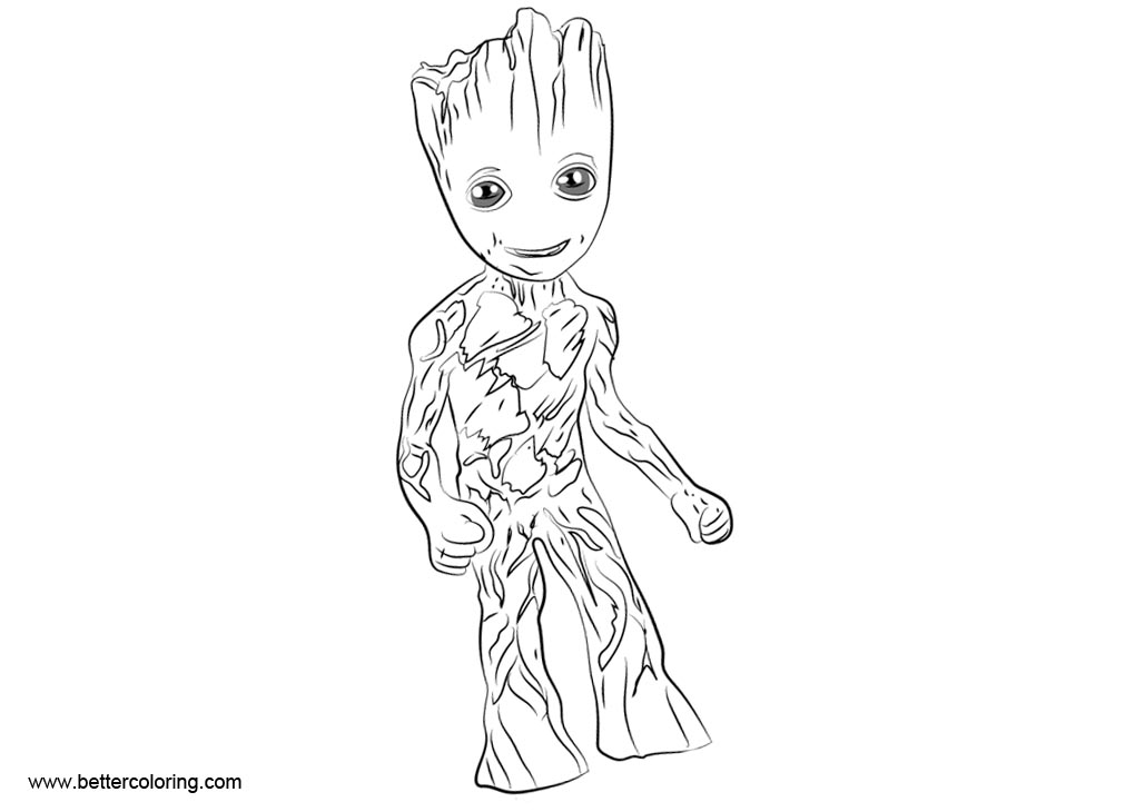 Free Simple Baby Groot Coloring Pages printable