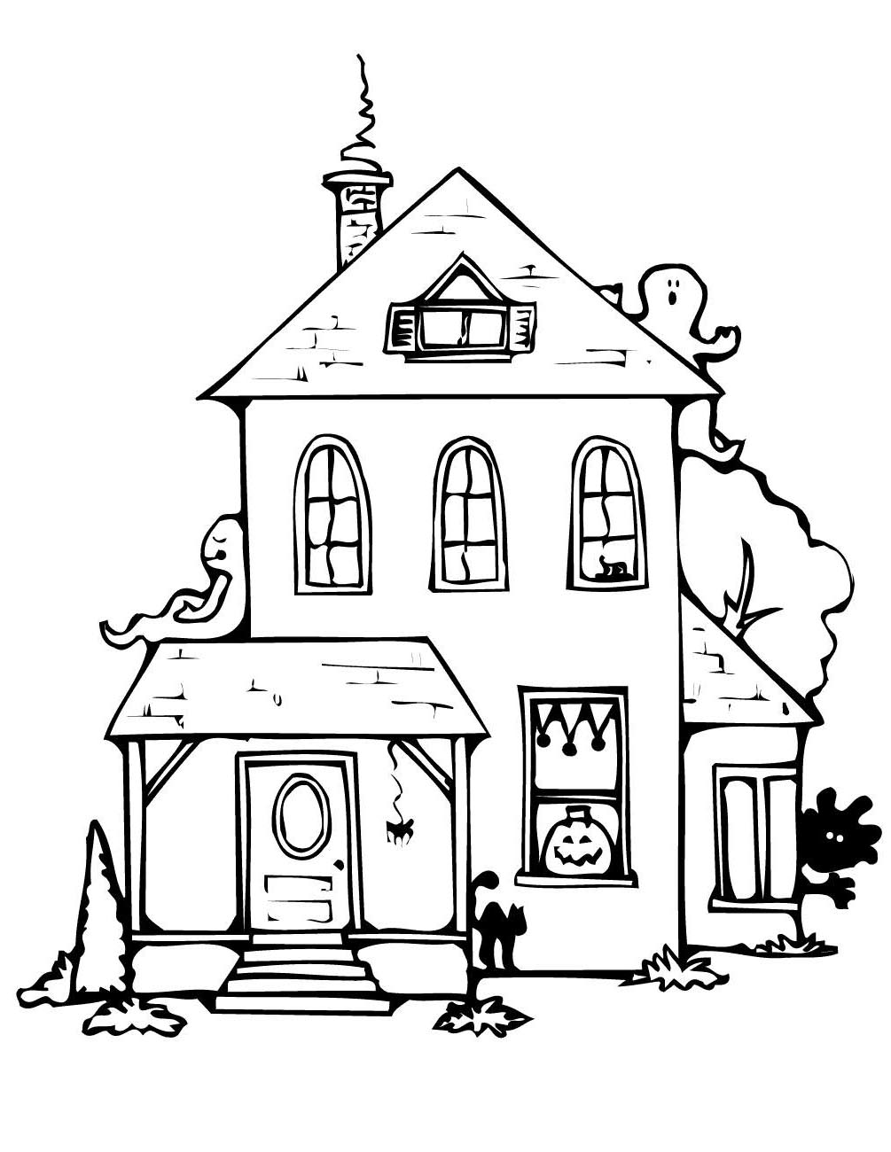 Free Simple Haunted House Coloring Pages Printable printable