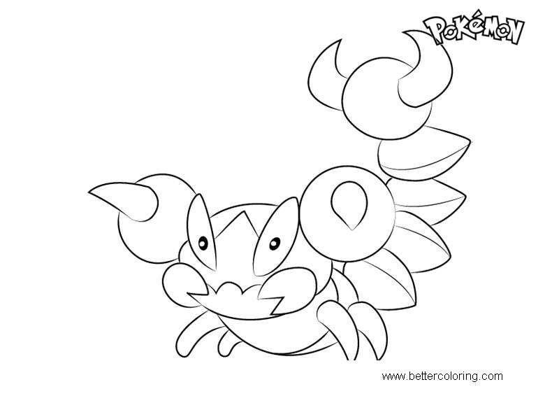 Free Skorupi from Pokemon Coloring Pages printable