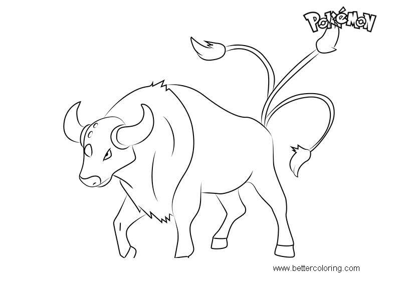 Free Tauros from Pokemon Coloring Pages printable