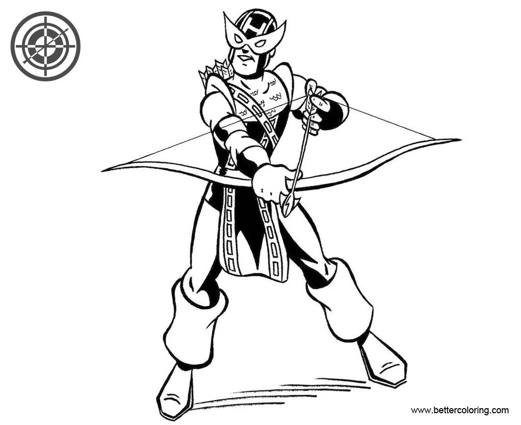 Superhero Hawkeye Printable Coloring Pages