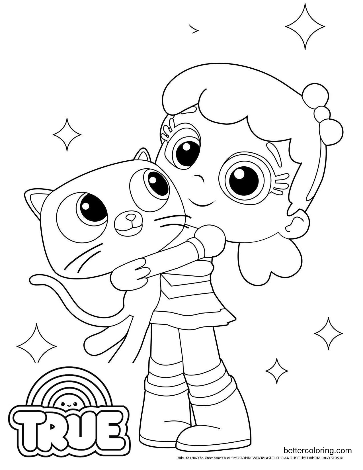 Free True and the Rainbow Kingdom Coloring Pages True and Bartleby Line Drawing printable