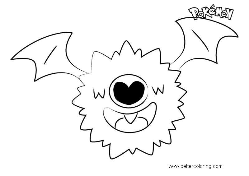 Free Woobat from Pokemon Coloring Pages printable