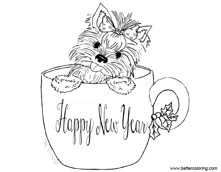 yourkie doags coloring pages | Yorkie Coloring Pages Happy New Year - Free Printable ...