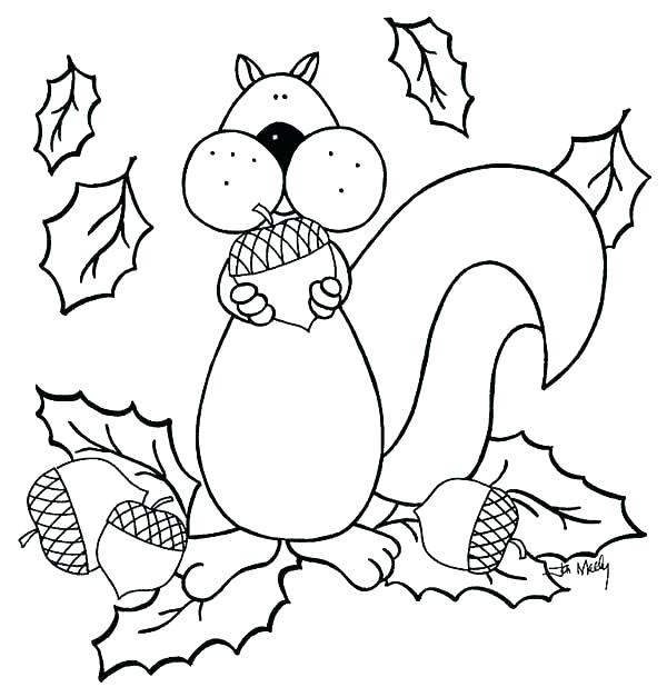 Free Acorn Coloring Pages and Fallen Leaves printable