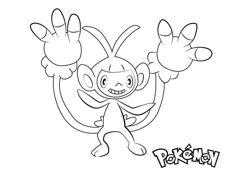 Ambipom From Pokemon Coloring Pages Free Printable Coloring Pages