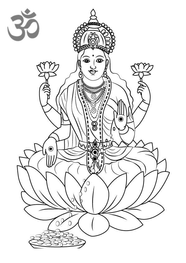 Hinduism Coloring Pages Lakshmi Mata Printable Free