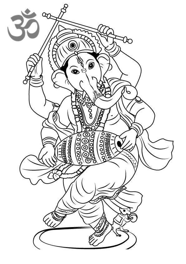 Free Hinduism Coloring Pages Lord Ganesha Printable printable
