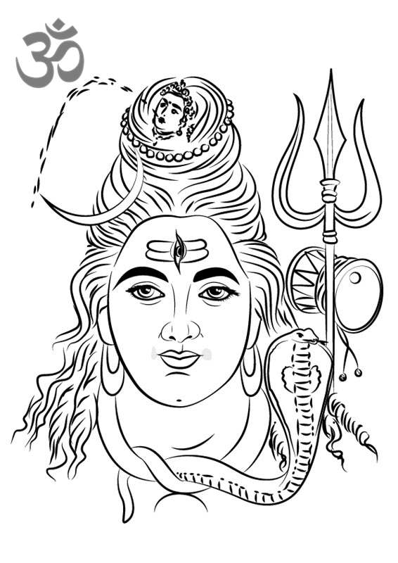 Hinduism Coloring Pages Lord Shiva Face Printable - Free