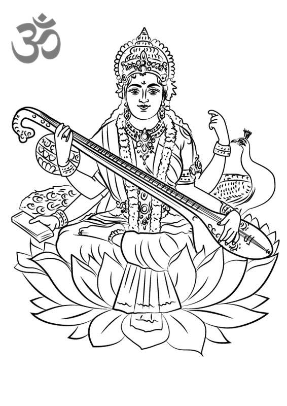 Hinduism Coloring Pages Saraswati