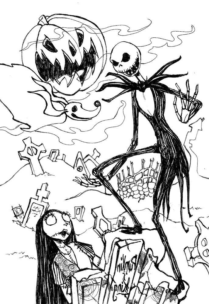 Jack Skellington Coloring Pages Fan Drawing Free Printable