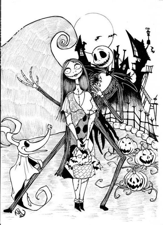 Jack Skellington Coloring Pages Halloween Free Printable Coloring