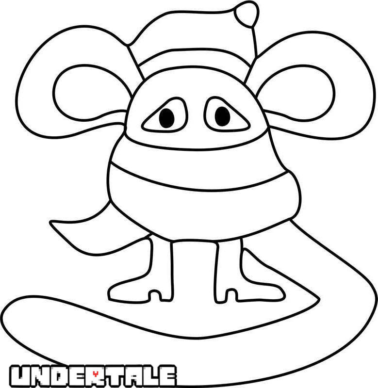 Free Scarved Mouse from Undertale Coloring Pages printable